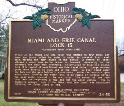 Miami and Erie Canal Lock 15 Marker (Side B) image. Click for full size.