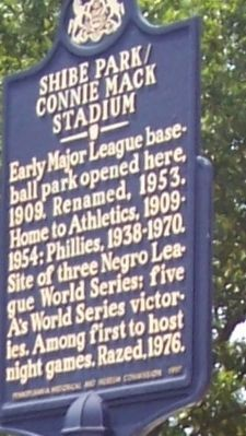 Shibe Park/Connie Mack Stadium Marker image. Click for full size.