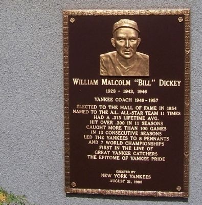 "William Malcolm ""Bill"" Dickey Marker image. Click for full size."