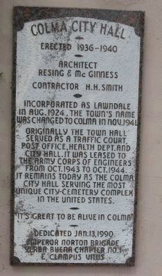 Colma City Hall Marker image. Click for full size.
