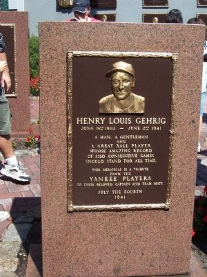 Henry Louis Gehrig Marker image. Click for full size.