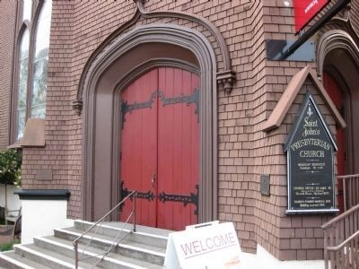 St. John's Presbyterian Church - Entrance with markers to the left and right of the entrance image. Click for full size.