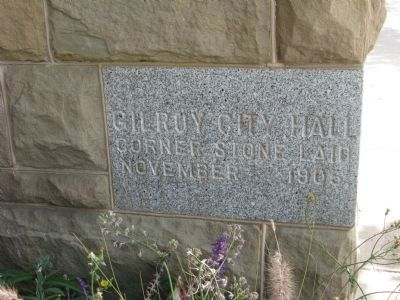 Old City Hall Corner Stone image. Click for full size.