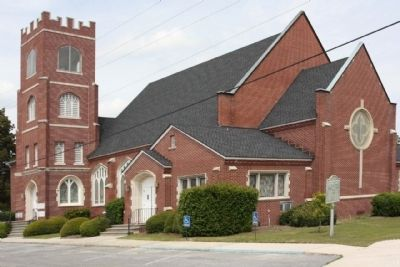 Claxton First United Methodist Church and Marker, seen from Main St. image. Click for full size.