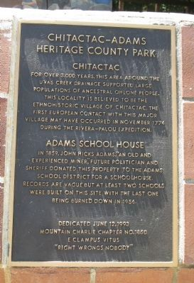 Chitactac-Adams Heritage County Park Marker image. Click for full size.