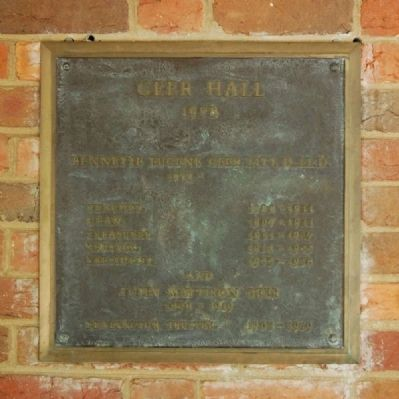 Geer Hall Marker image. Click for full size.