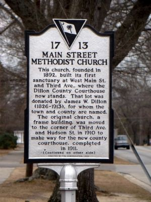 Main Street Methodist Church Marker (front) image. Click for full size.