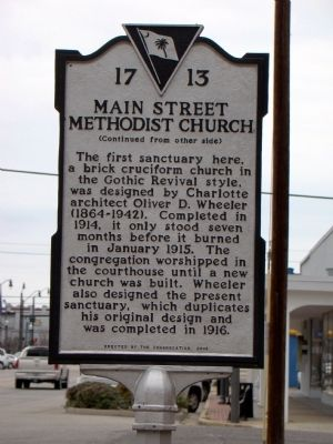 Main Street Methodist Church Marker (back) image. Click for full size.
