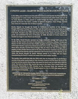 Coyote Lake – Harvey Bear Ranch County Park Marker image. Click for full size.