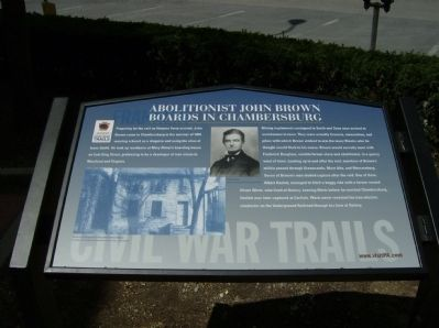 Abolitionist John Brown Boards in Chambersburg Marker image. Click for full size.