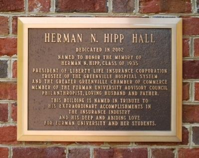 Herman N. Hipp Hall Marker image. Click for full size.