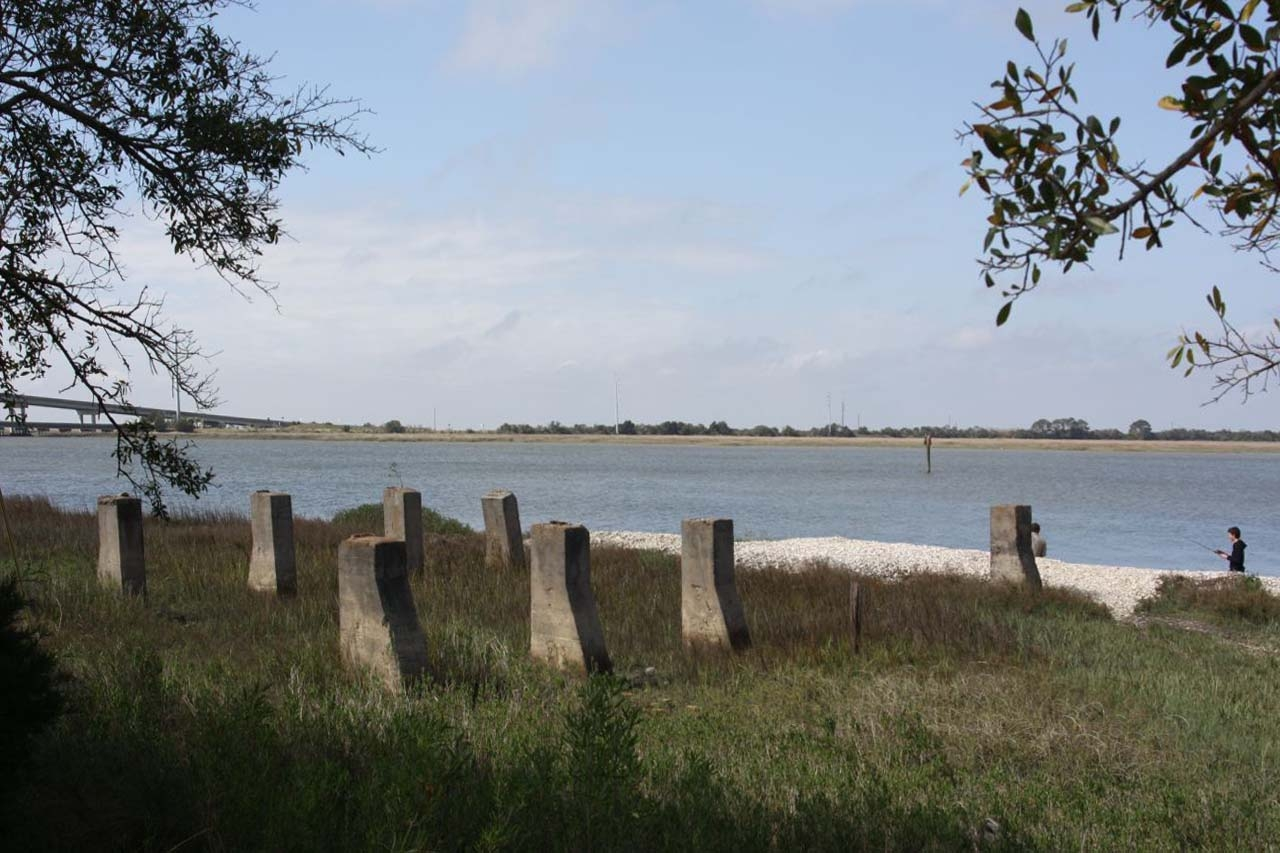 Boat House Site , remains of the concrete pilings