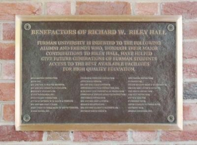 Benefactors of Richard W. Riley Hall image. Click for full size.