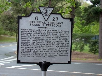 Technical Sergeant Frank D. Peregory Marker image. Click for full size.