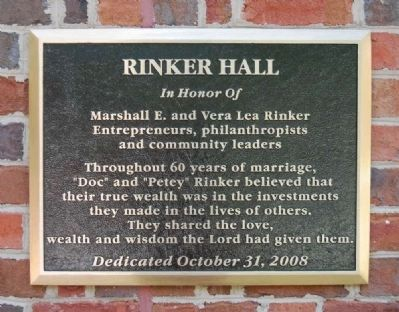 Marshall E. and Vera Lea Rinker Hall Marker image. Click for full size.