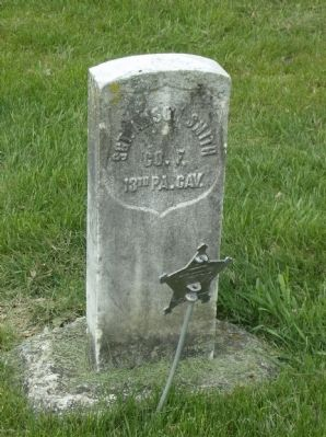 Grave of Sgt. Anson Smith in church cemetery image. Click for full size.