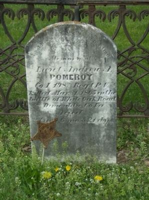 Grave of Lt. Andrew Pomeroy in the church cemetery image. Click for full size.