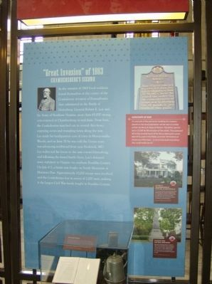 Great Invasion of 1863 Interpretive Panel in the nearby Heritage Center image. Click for full size.