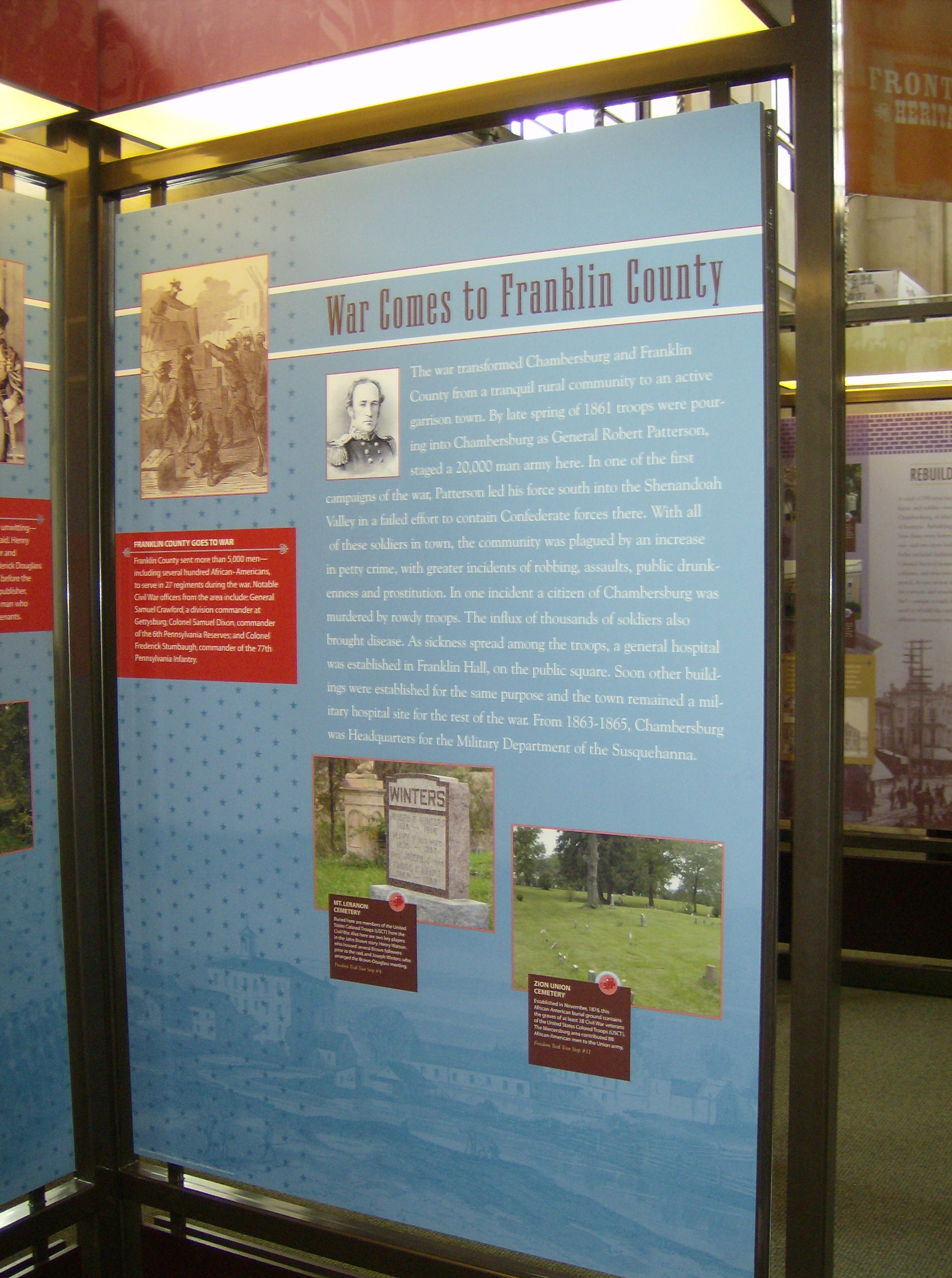 War Comes to Franklin County Interpretive Panel in the nearby Heritage Center