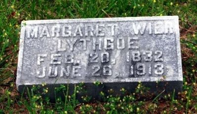 Margaret Wier Lythgoe<br>Wife of Augustus Jackson Lythgoe<br>Long Cane Cemetery, Abbeville, SC image. Click for full size.