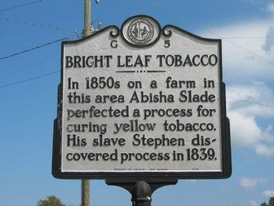 Bright Leaf Tobacco Marker image. Click for full size.