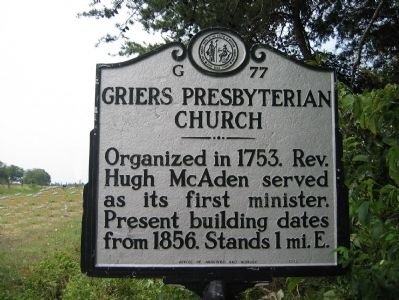 Griers Presbyterian Church Marker image. Click for full size.