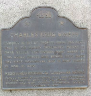 Charles Krug Winery Marker image. Click for full size.
