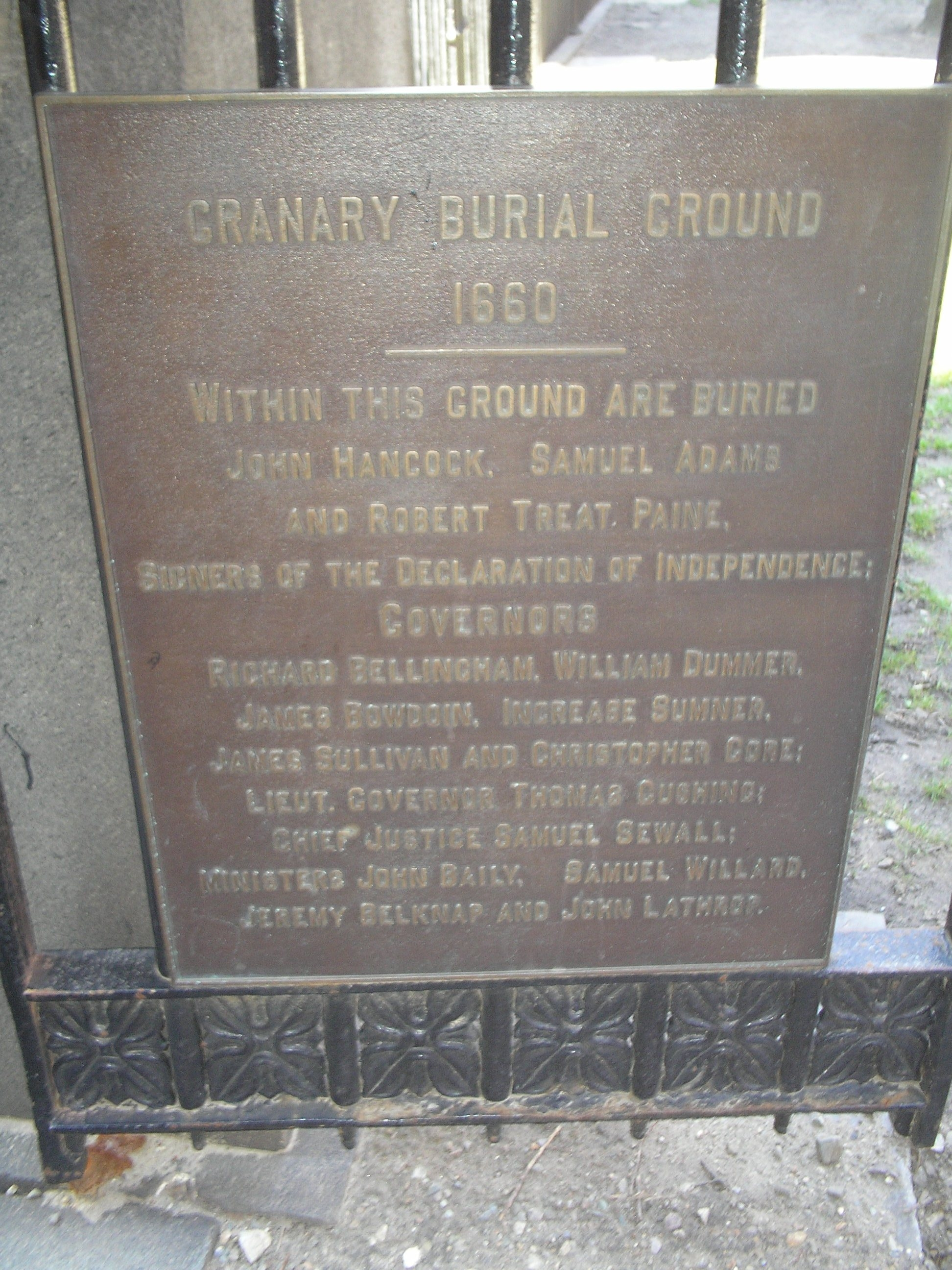 Granary Burying Ground Marker
