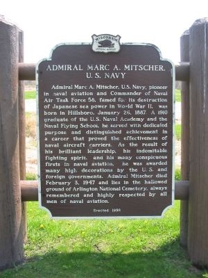 Admiral Marc A. Mitscher, U.S. Navy Marker image. Click for full size.