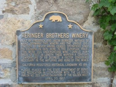 Beringer Brothers Winery Marker image. Click for full size.