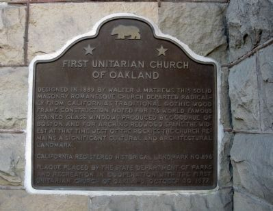 First Unitarian Church of Oakland Marker image. Click for full size.