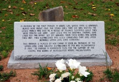 First Burial in Long Cane Cemetery Marker image. Click for full size.