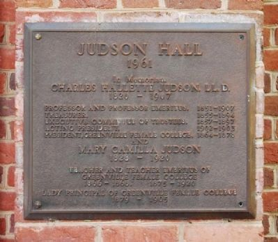 Judson Hall Marker image. Click for full size.