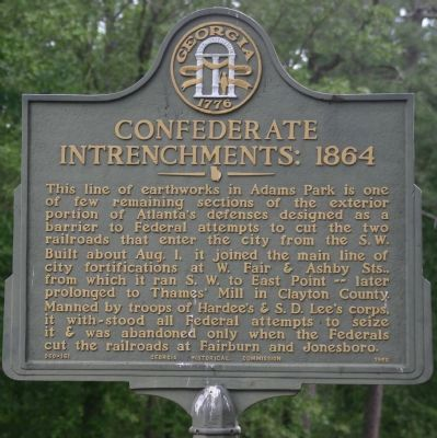 Confederate Entrenchments 1864 Marker image. Click for full size.