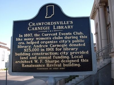 Side One - - Crawfordsville (Indiana) Carnegie Library Marker image. Click for full size.