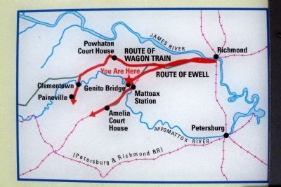 Ewell's route from Richmond. image. Click for full size.