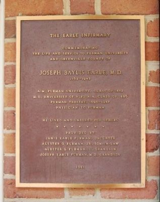 The Earle Infirmary Marker image. Click for full size.