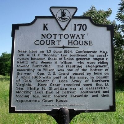 Nottoway Court House Marker image. Click for full size.