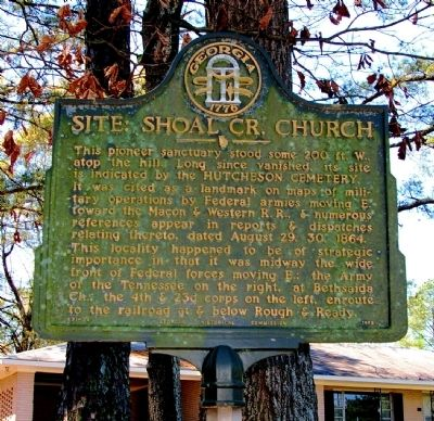 Site: Shoal Cr. Church Marker image. Click for full size.