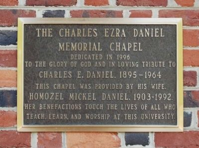 The Charles Erza Daniel Memorial Chapel Marker image. Click for full size.