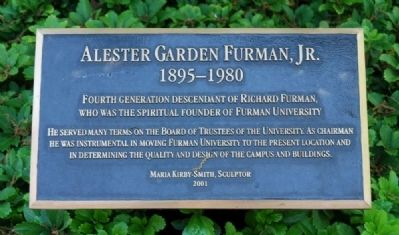 Alester Garden Furman, Jr. Marker image. Click for full size.