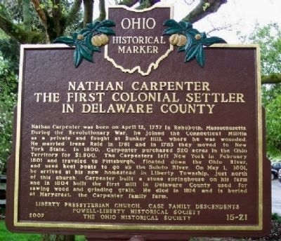 Nathan Carpenter The First Colonial Settler in Delaware County Marker image. Click for full size.
