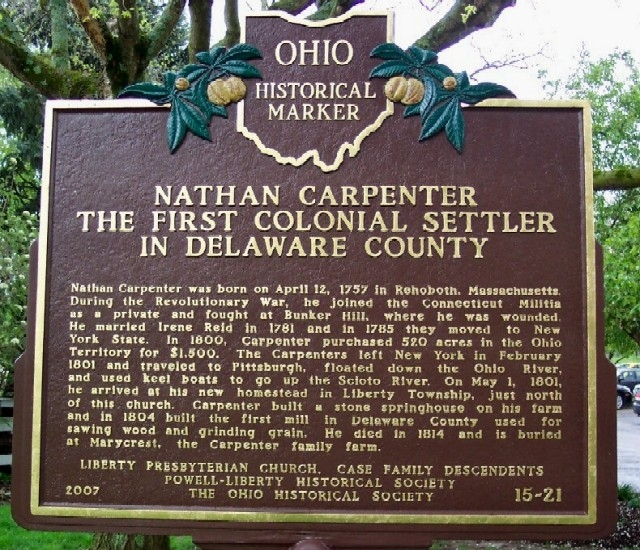 Nathan Carpenter The First Colonial Settler in Delaware County Marker