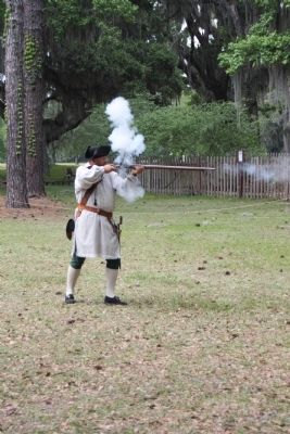 Frederica - The Fort Historian / Living History Musket Firing image. Click for full size.