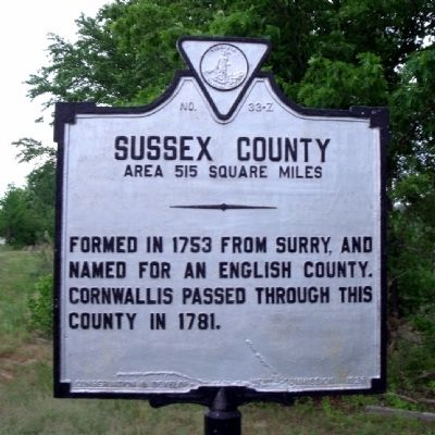 Sussex County Marker (obverse) image. Click for full size.