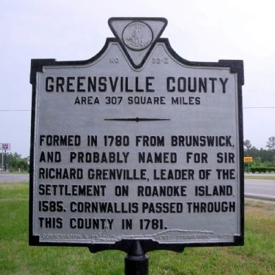 Greensville County Marker (reverse) image. Click for full size.