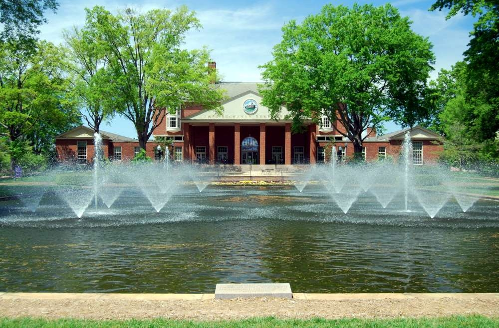Elizabeth Lyles Blackwell Fountain -<br>Duke Library in Backgrounf