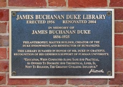 James Buchanan Duke Library Marker image. Click for full size.