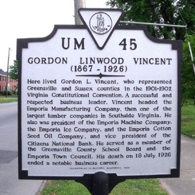 Gordon Linwood Vincent Marker image. Click for full size.
