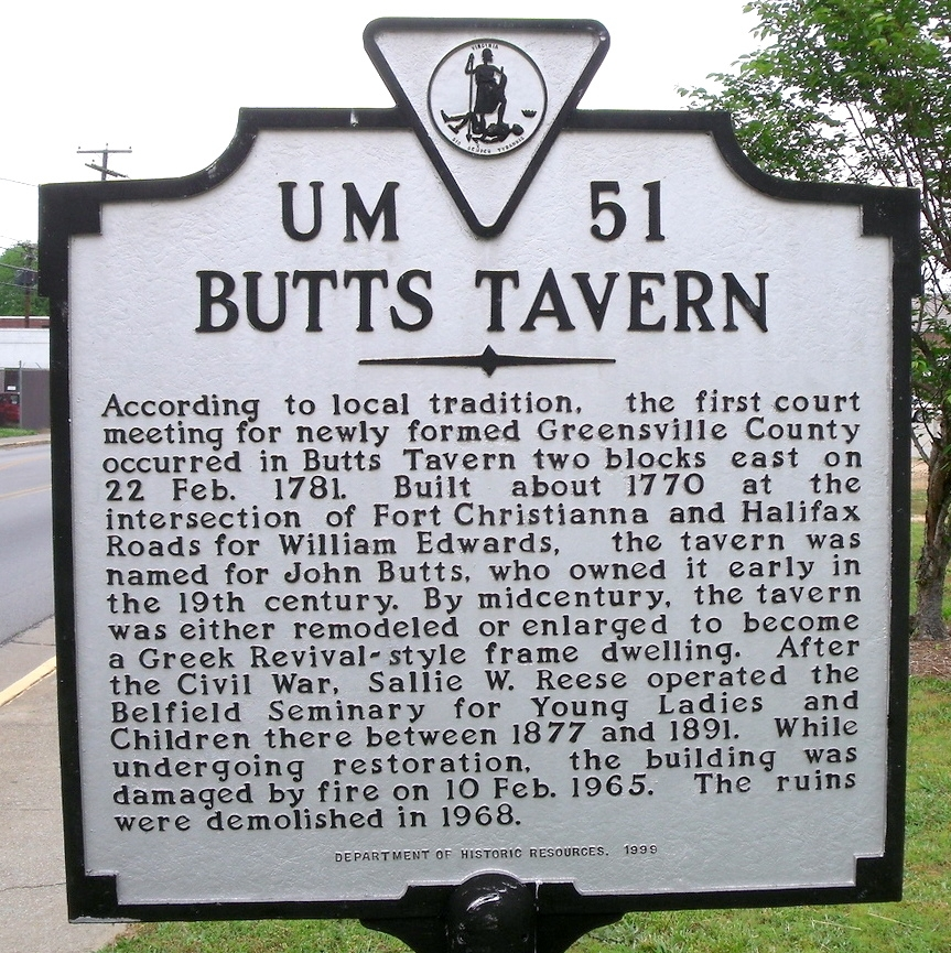 Butts Tavern Marker